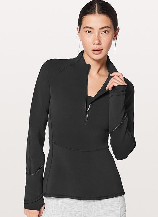 Lady's half zipper sport stretch slim quick dry top