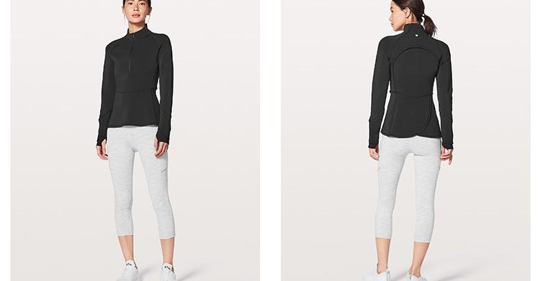 product-Ruiteng-Ladys half zipper sport stretch slim quick dry top-img
