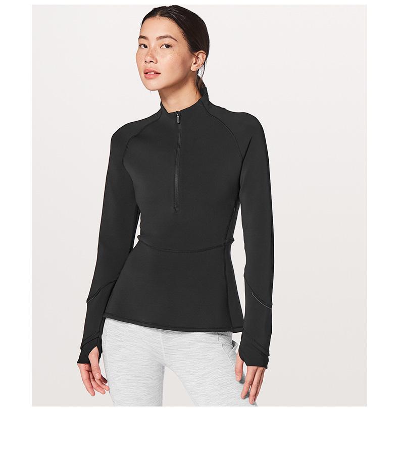 product-Ladys half zipper sport stretch slim quick dry top-Ruiteng-img
