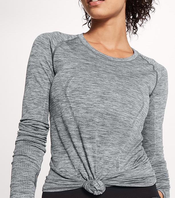 Ladies slim round lead fitness breathable long sleeve T-shirt