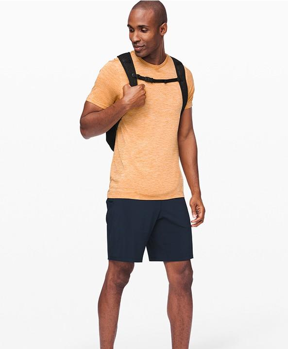 New men's loose breathable short leisure fitness running elastic breathable T-shirt