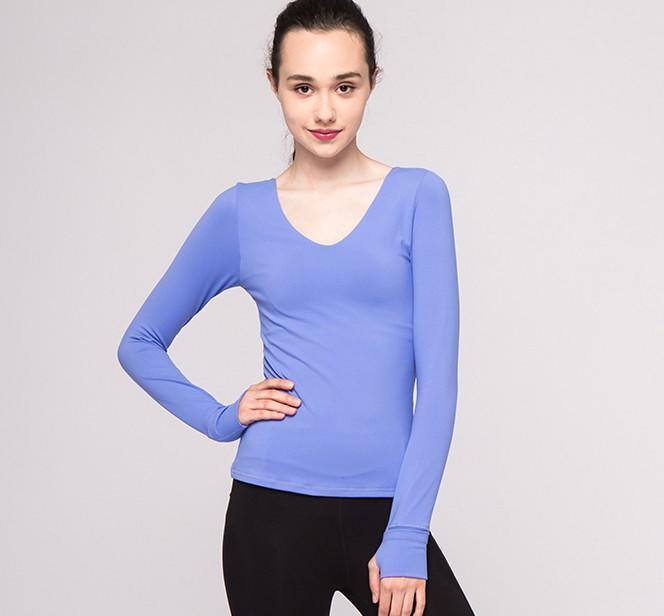 Fashionable gauze beauty back yoga dress long-sleeved T-shirt with yoga top