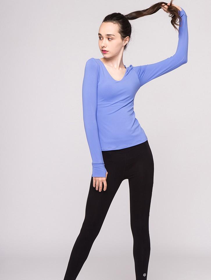 product-Fashionable gauze beauty back yoga dress long-sleeved T-shirt with yoga top-Ruiteng-img