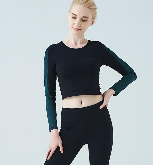 Patchwork color waist-baring yoga dress long-sleeved T-shirt sports fitness top