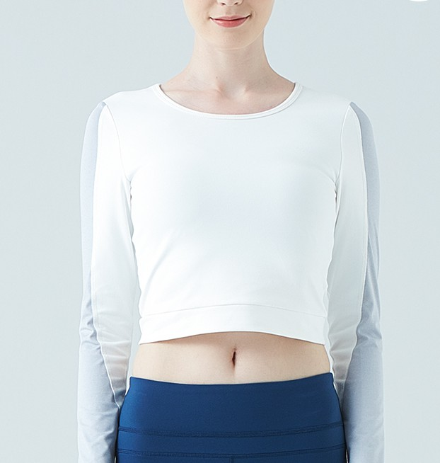 product-Patchwork color waist-baring yoga dress long-sleeved T-shirt sports fitness top-Ruiteng-img