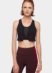 Striped patchwork breathable motion elastic sports bra comfortable suit