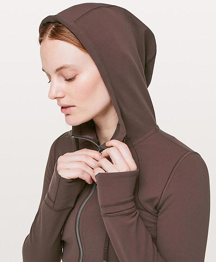 product-Autumnwinter womens blazer with hat yoga gym long sleeve jacket-Ruiteng-img