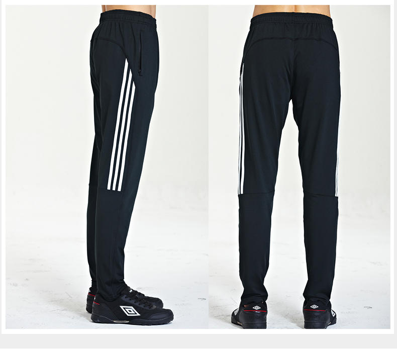 Autumn winter sports pants men's small feet training pants high stretch plus fleece thickened fast dry running pants fitness football pants
