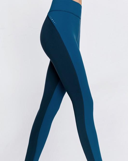 Clashing color hollow belt mid-waist quick dry yoga fitness leggings female