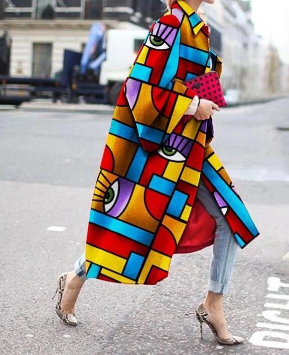 Fashion Geometric Color Printed Coat RTM-285