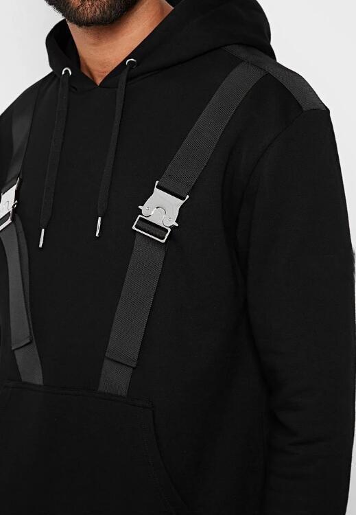CARGO STRAP BUCKLE DETAIL HOODIE - BLACK RTM-275