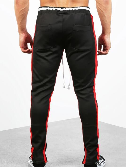 Double Striped Track Pants V2 in Black and Red RTM-268