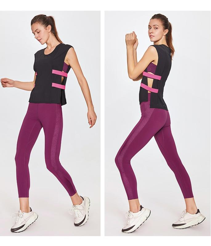 Women's quick-drying high-elastic lace-up 9 point leggings