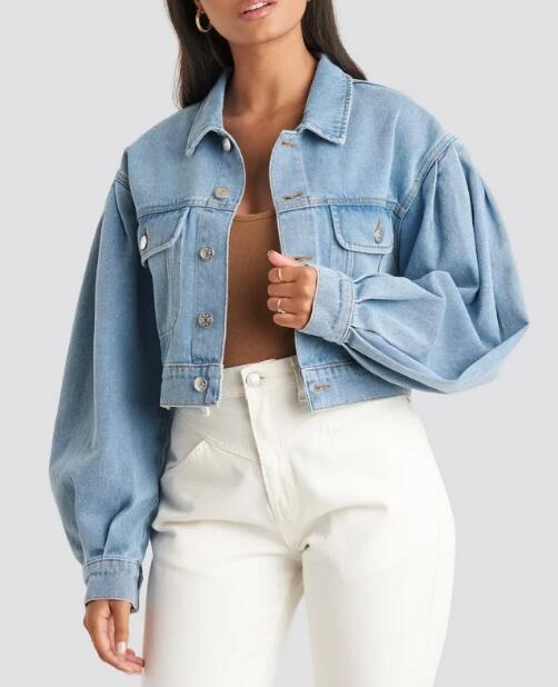 product-Puff Sleeve Oversized Denim Jacket-Ruiteng-img