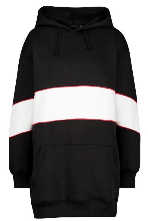 Hooded Contrast Panel Sweatshirt Dress RTM-213