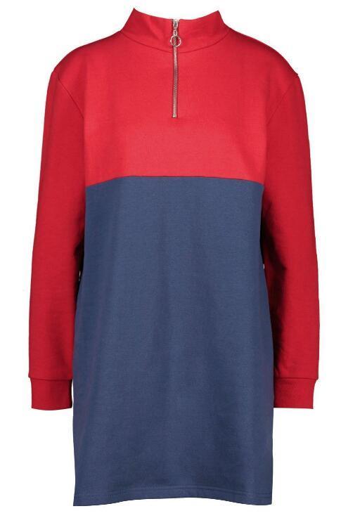 O Ring Zip Colour Block Sweatshirt Dress RTM-212