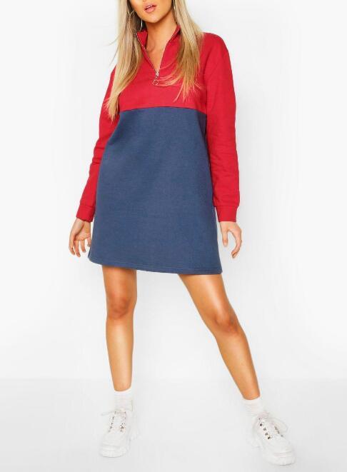 product-O Ring Zip Colour Block Sweatshirt Dress RTM-212-Ruiteng-img