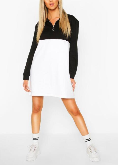 product-Ruiteng-O Ring Zip Colour Block Sweatshirt Dress RTM-212-img