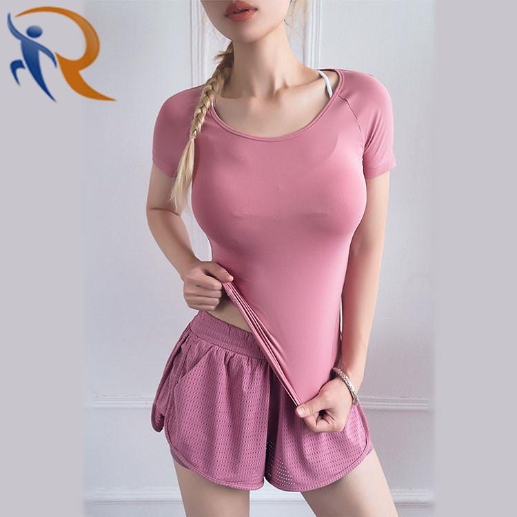 Women Mesh Workout Yoga Fitness Wear Yoga Short with Inside Pocket