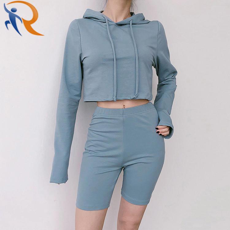 Customized Women Leisure Streetwear High Waist Oversized Sweatshirt Biker Shorts Set