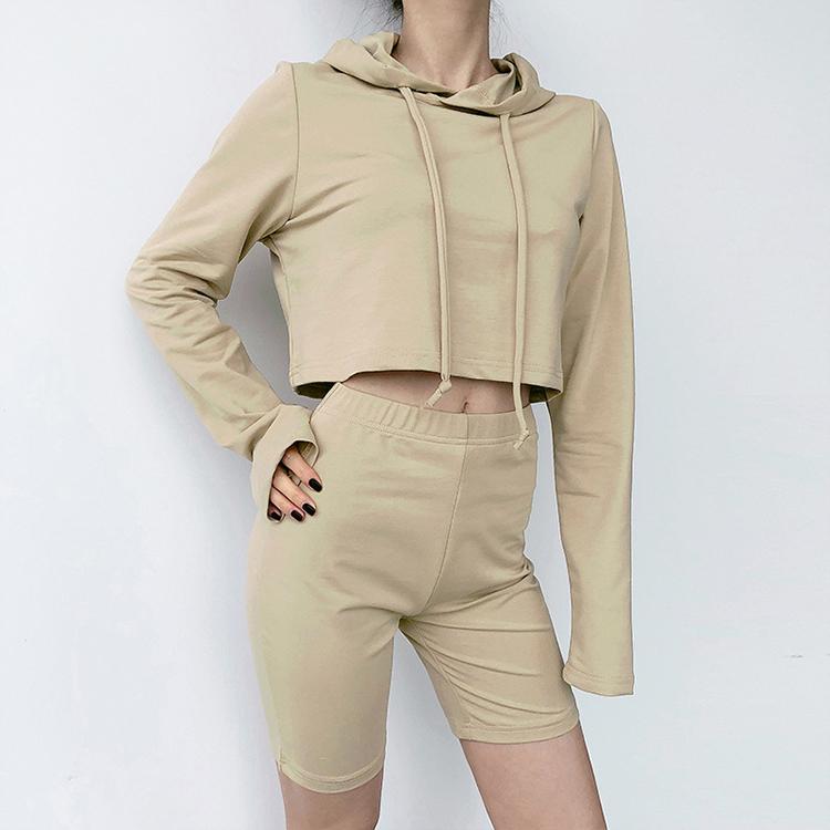 product-Women Long Sleeve Crop Top Yoga Hoodie Set with Hat-Ruiteng-img
