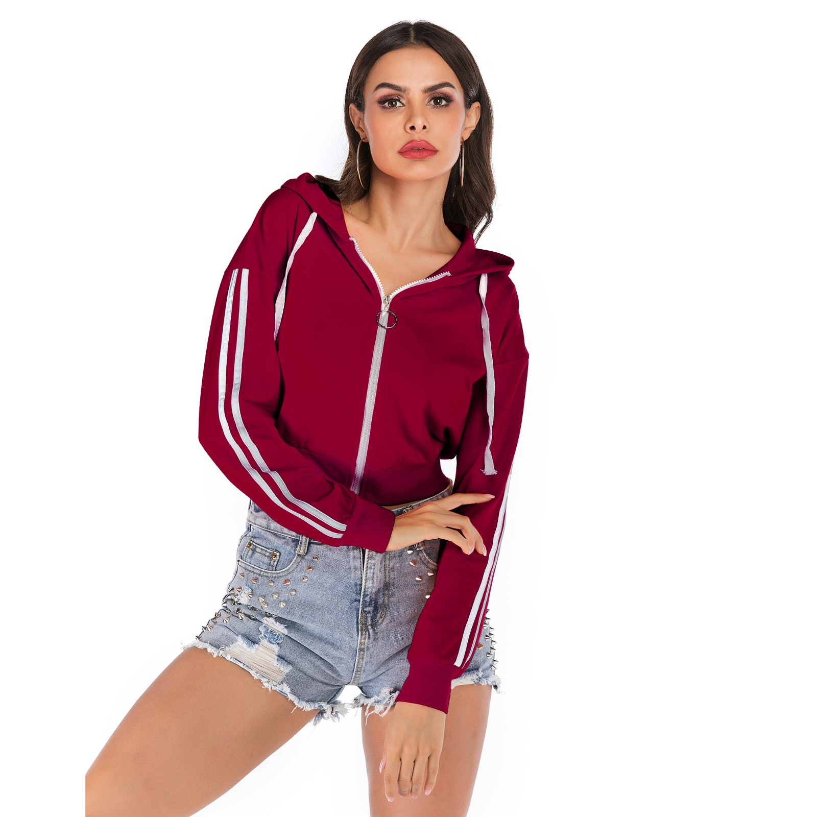product-Ruiteng-Women New Style Cotton Printed Zip up Hoodies with Hat-img