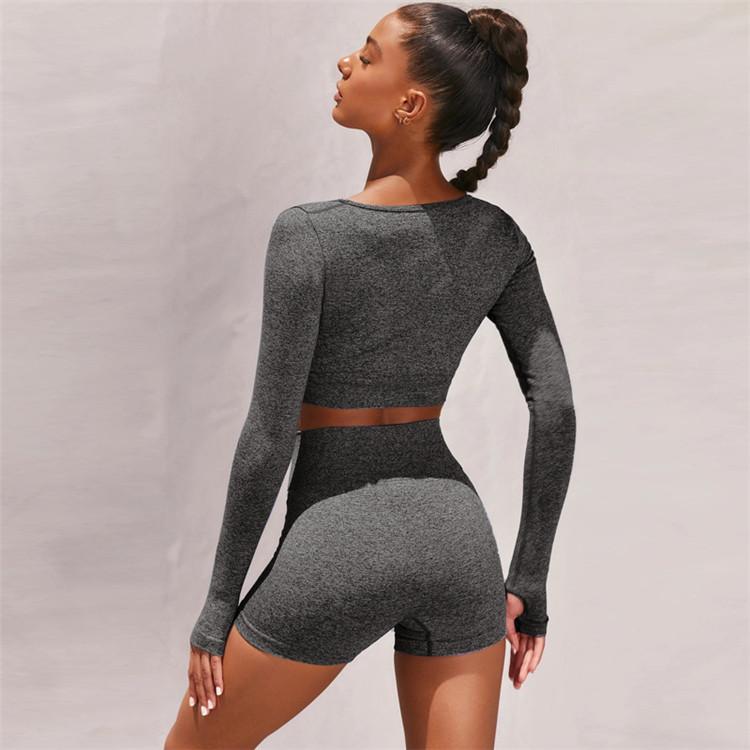 product-Women Long Sleeve Fashion Yoga Wear Fitness Sportswear Yoga Set-Ruiteng-img
