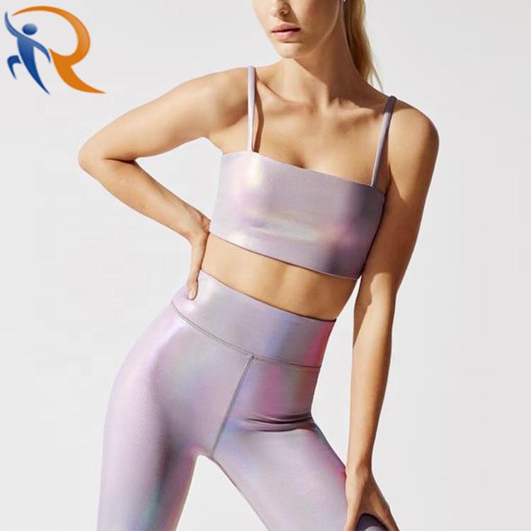 New Fashion Luminous Color Printed Bra and Leggings Yoga Set for Women