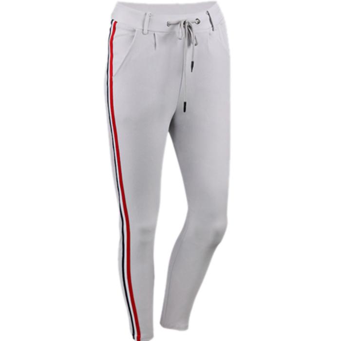 OEM Wholesale Side Contrast Color Stripe Slim High Waist Women Workout Pants Bottoms Design Running Training Trousers-RTA1481