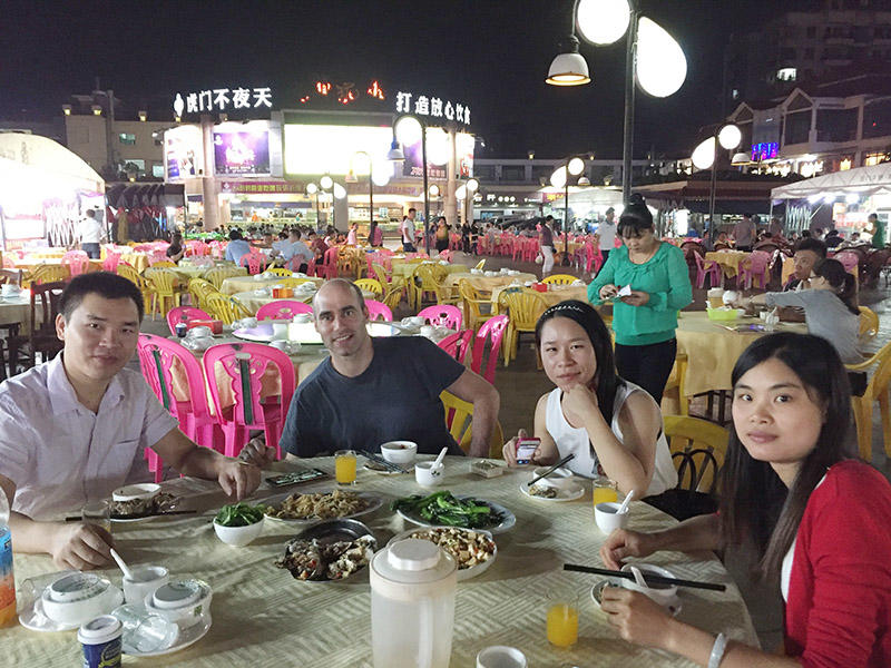 We are having dinner with our customers.